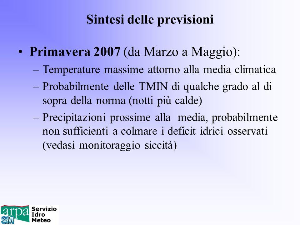 Sintesi delle previsioni Primavera 2007 (da Marzo a Maggio): –Temperature massime attorno alla media climatica –Probabilmente delle TMIN di qualche gr