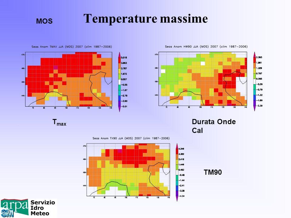 Temperature massime MOS T max Durata Onde Cal TM90