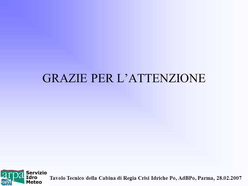 Tavolo Tecnico della Cabina di Regia Crisi Idriche Po, AdBPo, Parma, 28.02.2007 GRAZIE PER LATTENZIONE