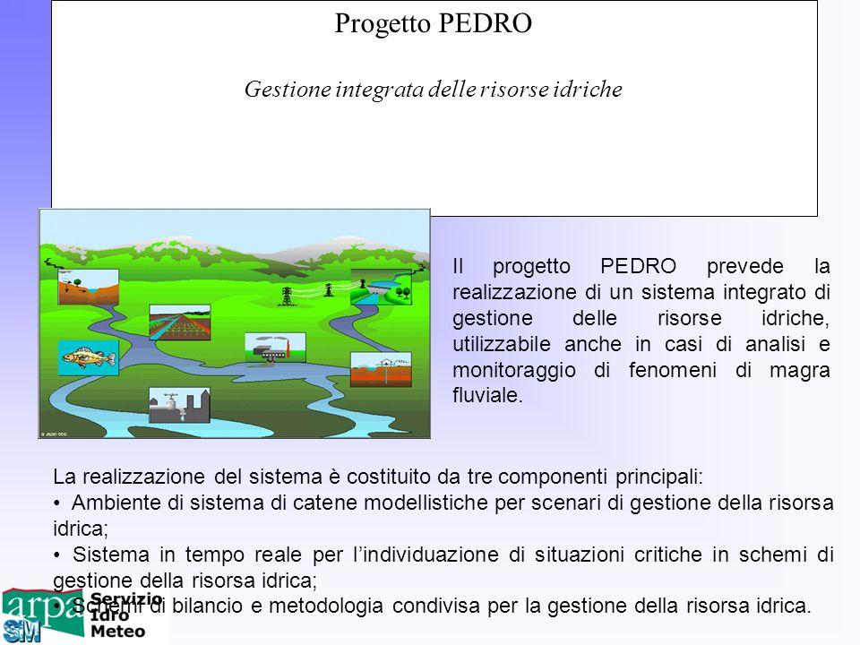Progetto PEDRO Gestione integrata delle risorse idriche Il progetto PEDRO prevede la realizzazione di un sistema integrato di gestione delle risorse i