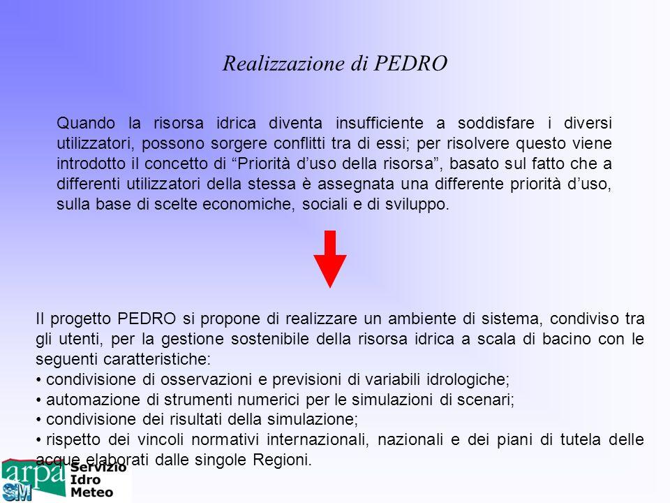 Il progetto PEDRO si propone di realizzare un ambiente di sistema, condiviso tra gli utenti, per la gestione sostenibile della risorsa idrica a scala
