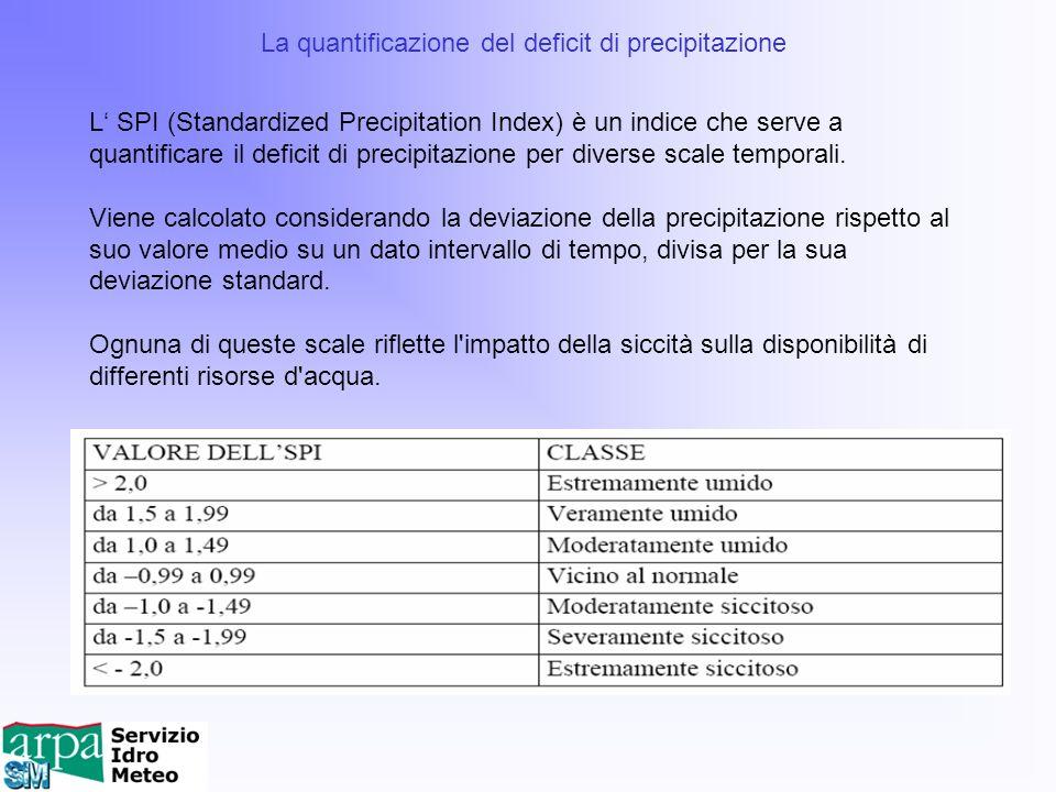 La quantificazione del deficit di precipitazione L SPI (Standardized Precipitation Index) è un indice che serve a quantificare il deficit di precipita