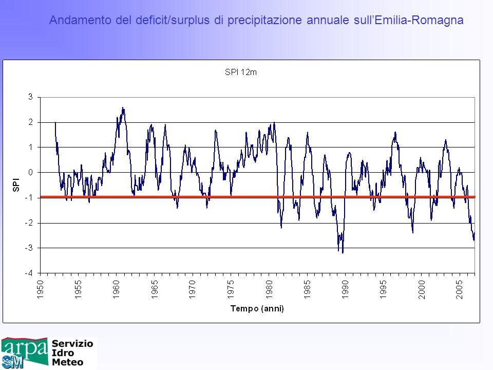 Andamento del deficit/surplus di precipitazione annuale sullEmilia-Romagna