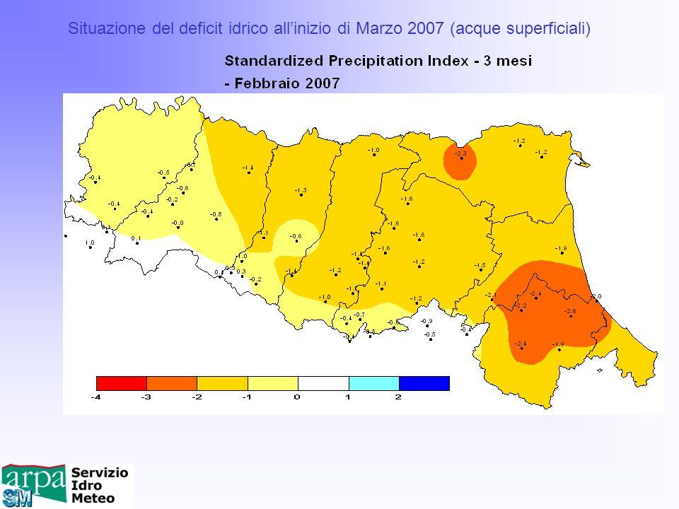 Situazione del deficit idrico allinizio di Marzo 2007 (acque superficiali)