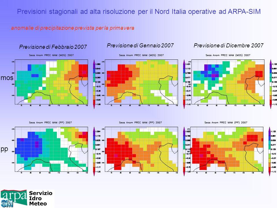 mos pp Previsioni stagionali ad alta risoluzione per il Nord Italia operative ad ARPA-SIM Previsione di Febbraio 2007 Previsione di Gennaio 2007Previs