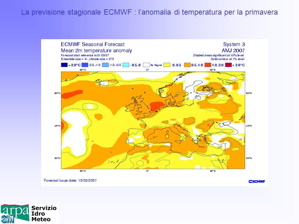 La previsione stagionale ECMWF : lanomalia di temperatura per la primavera