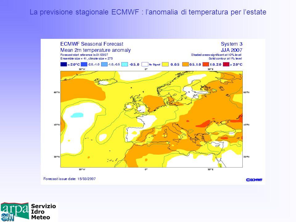La previsione stagionale ECMWF : lanomalia di temperatura per lestate