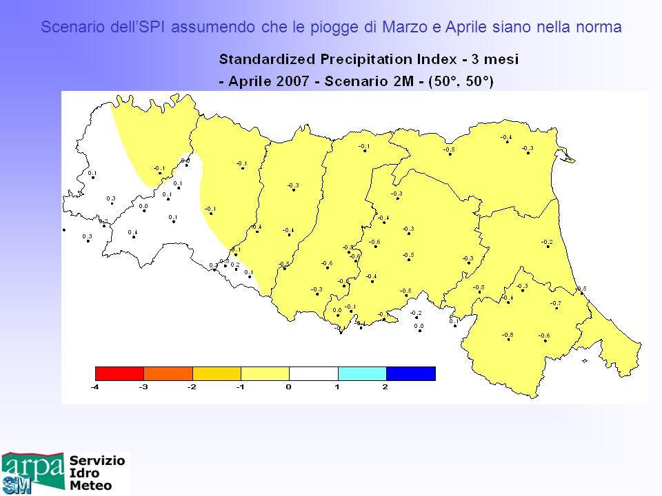 Scenario dellSPI assumendo che le piogge di Marzo e Aprile siano nella norma