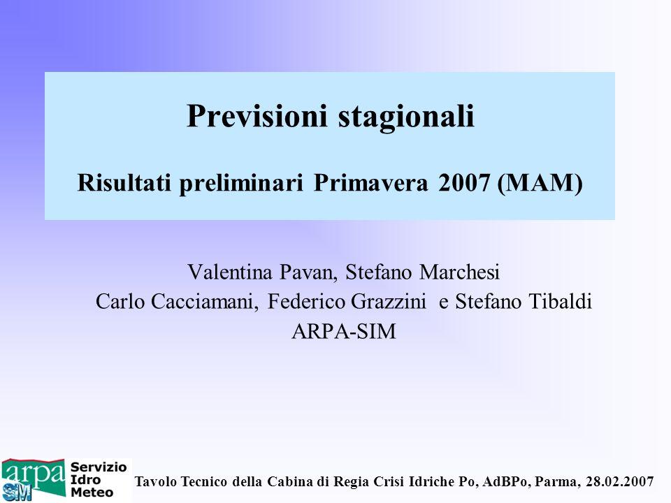 Tavolo Tecnico della Cabina di Regia Crisi Idriche Po, AdBPo, Parma, 28.02.2007 Previsioni stagionali Risultati preliminari Primavera 2007 (MAM) Valen