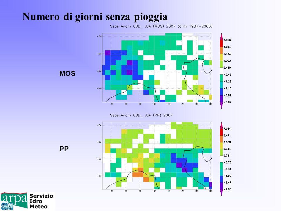 Numero di giorni senza pioggia MOS PP