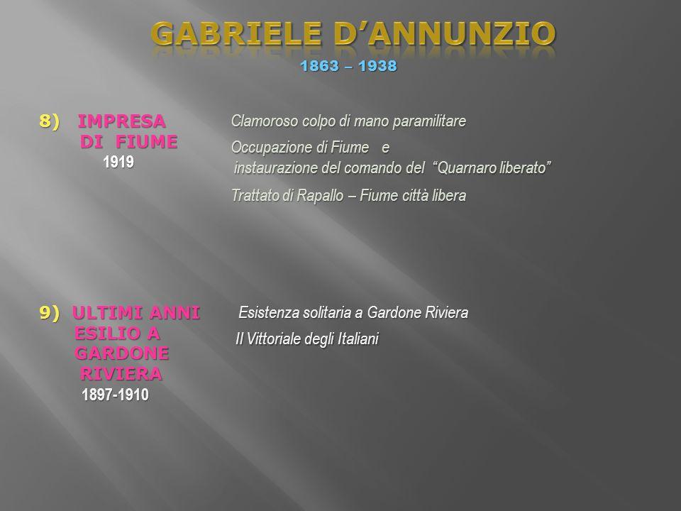 1863 – 1938 Esistenza solitaria a Gardone Riviera Esistenza solitaria a Gardone Riviera 9) ULTIMI ANNI ESILIO A ESILIO A GARDONE GARDONE RIVIERA RIVIE