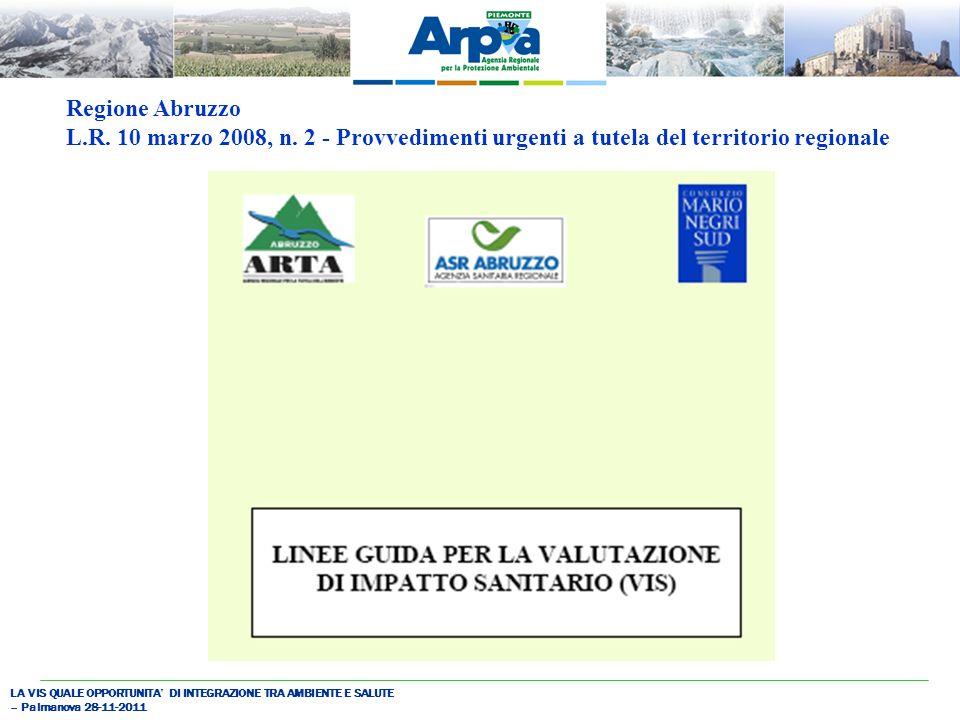 LA VIS QUALE OPPORTUNITA DI INTEGRAZIONE TRA AMBIENTE E SALUTE – Palmanova 28-11-2011 Regione Abruzzo L.R.