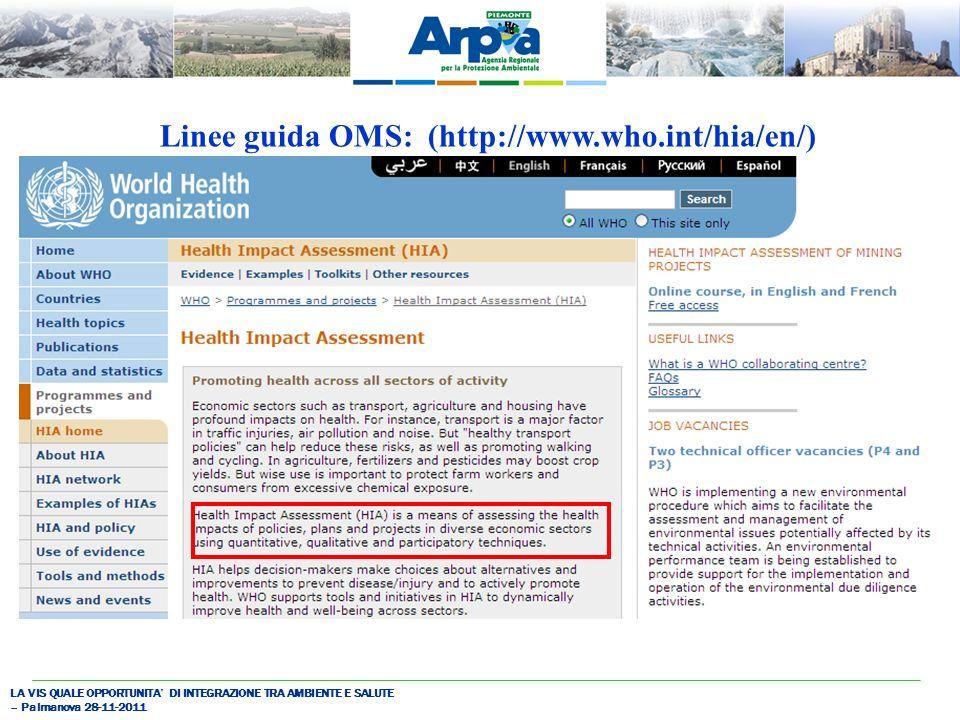 LA VIS QUALE OPPORTUNITA DI INTEGRAZIONE TRA AMBIENTE E SALUTE – Palmanova 28-11-2011 Linee guida OMS: (http://www.who.int/hia/en/)