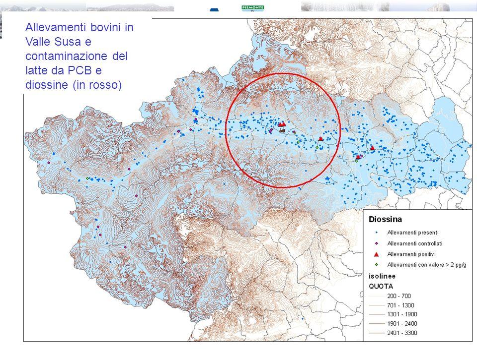 Allevamenti bovini in Valle Susa e contaminazione del latte da PCB e diossine (in rosso)