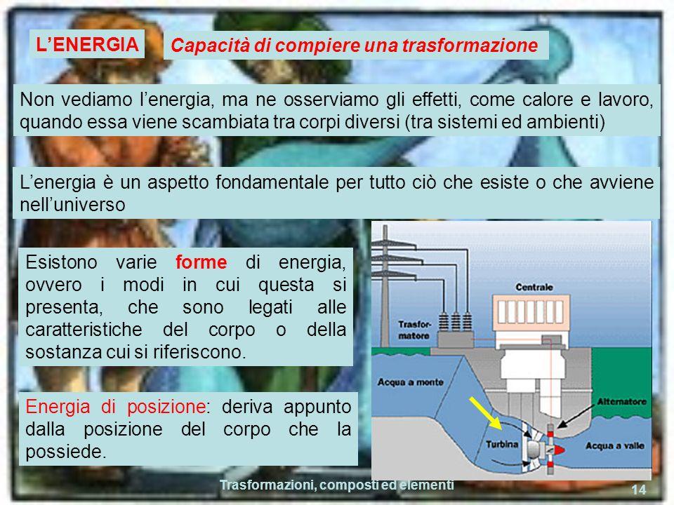Trasformazioni, composti ed elementi 14 LENERGIA Capacità di compiere una trasformazione Non vediamo lenergia, ma ne osserviamo gli effetti, come calo