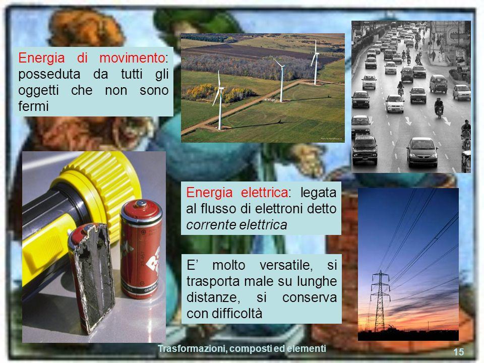 Trasformazioni, composti ed elementi 15 Energia di movimento: posseduta da tutti gli oggetti che non sono fermi Energia elettrica: legata al flusso di elettroni detto corrente elettrica E molto versatile, si trasporta male su lunghe distanze, si conserva con difficoltà
