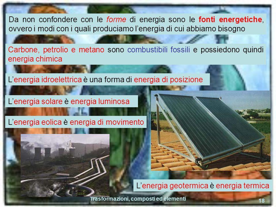 Trasformazioni, composti ed elementi 18 Da non confondere con le forme di energia sono le fonti energetiche, ovvero i modi con i quali produciamo lenergia di cui abbiamo bisogno Carbone, petrolio e metano sono combustibili fossili e possiedono quindi energia chimica Lenergia idroelettrica è una forma di energia di posizione Lenergia solare è energia luminosa Lenergia eolica è energia di movimento Lenergia geotermica è energia termica