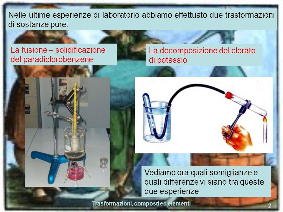 Trasformazioni, composti ed elementi 2 Nelle ultime esperienze di laboratorio abbiamo effettuato due trasformazioni di sostanze pure: Vediamo ora quali somiglianze e quali differenze vi siano tra queste due esperienze La fusione – solidificazione del paradiclorobenzene La decomposizione del clorato di potassio