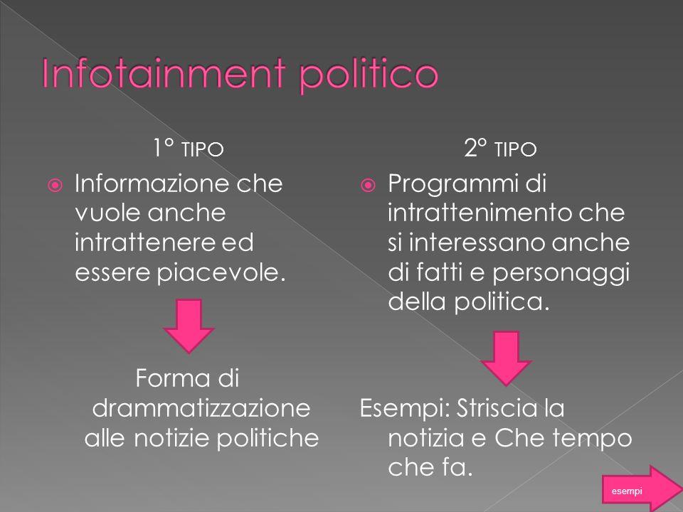 1° TIPO Informazione che vuole anche intrattenere ed essere piacevole. Forma di drammatizzazione alle notizie politiche 2° TIPO Programmi di intratten