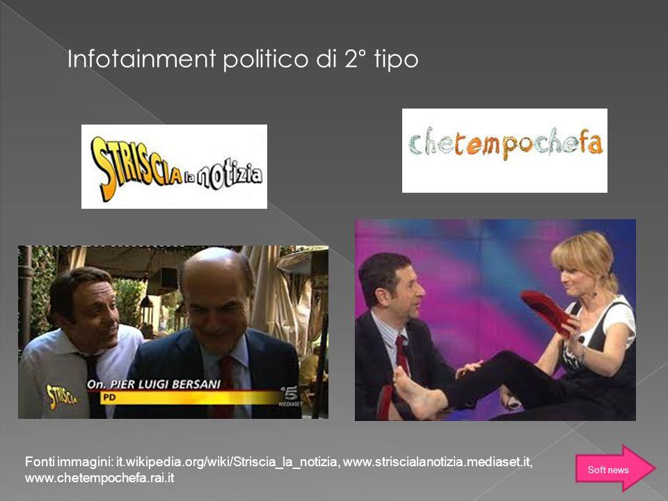 Fonti immagini: it.wikipedia.org/wiki/Striscia_la_notizia, www.striscialanotizia.mediaset.it, www.chetempochefa.rai.it Infotainment politico di 2° tip