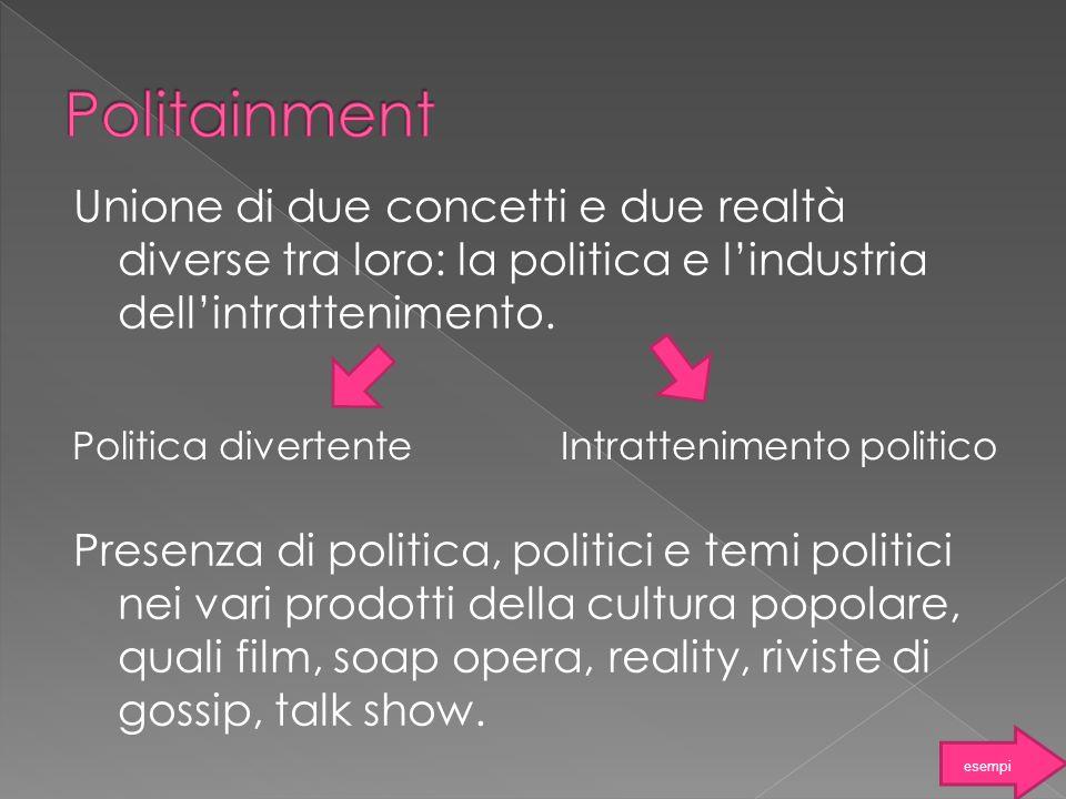 Politica divertenteIntrattenimento politico Unione di due concetti e due realtà diverse tra loro: la politica e lindustria dellintrattenimento. Presen