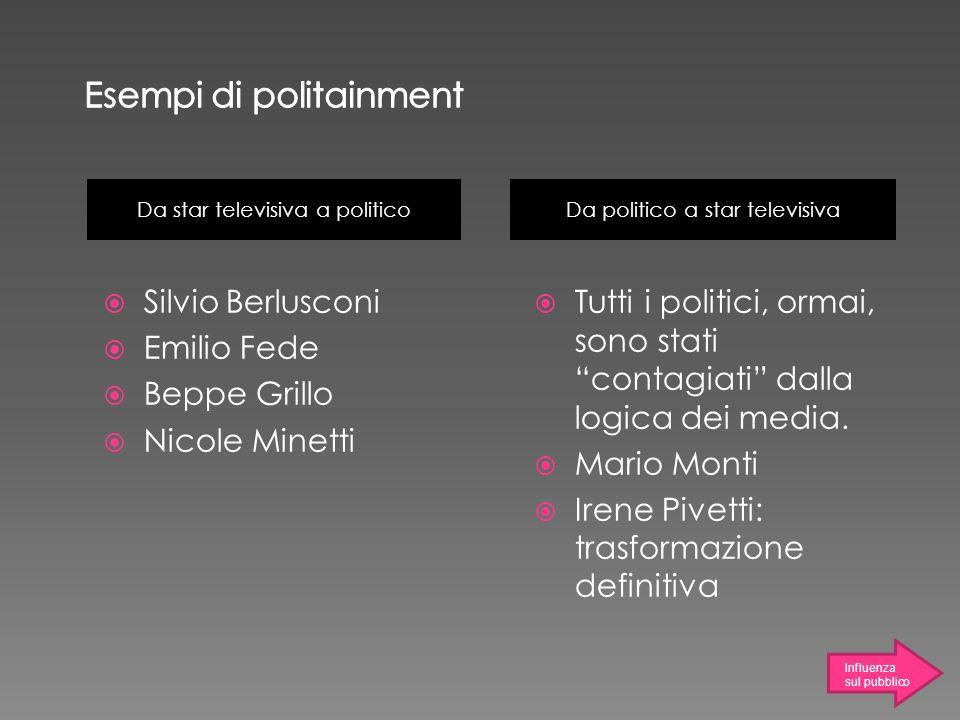 Da star televisiva a politico Da politico a star televisiva Silvio Berlusconi Emilio Fede Beppe Grillo Nicole Minetti Tutti i politici, ormai, sono st