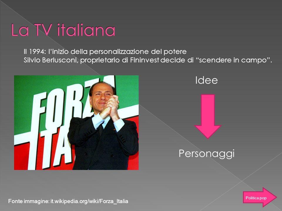 Idee Personaggi Il 1994: linizio della personalizzazione del potere Silvio Berlusconi, proprietario di Fininvest decide di scendere in campo. Fonte im