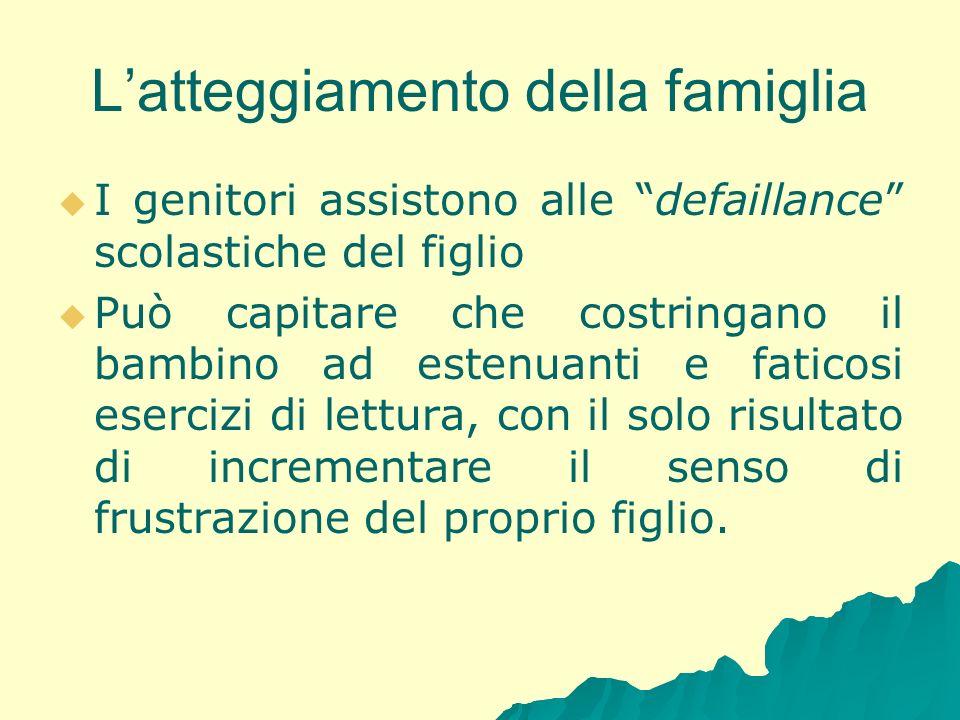 Latteggiamento della famiglia I genitori assistono alle defaillance scolastiche del figlio Può capitare che costringano il bambino ad estenuanti e fat