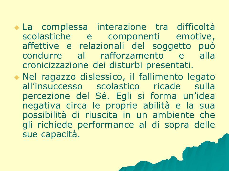 La complessa interazione tra difficoltà scolastiche e componenti emotive, affettive e relazionali del soggetto può condurre al rafforzamento e alla cr