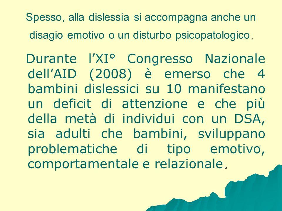 . Spesso, alla dislessia si accompagna anche un disagio emotivo o un disturbo psicopatologico.. Durante lXI° Congresso Nazionale dellAID (2008) è emer