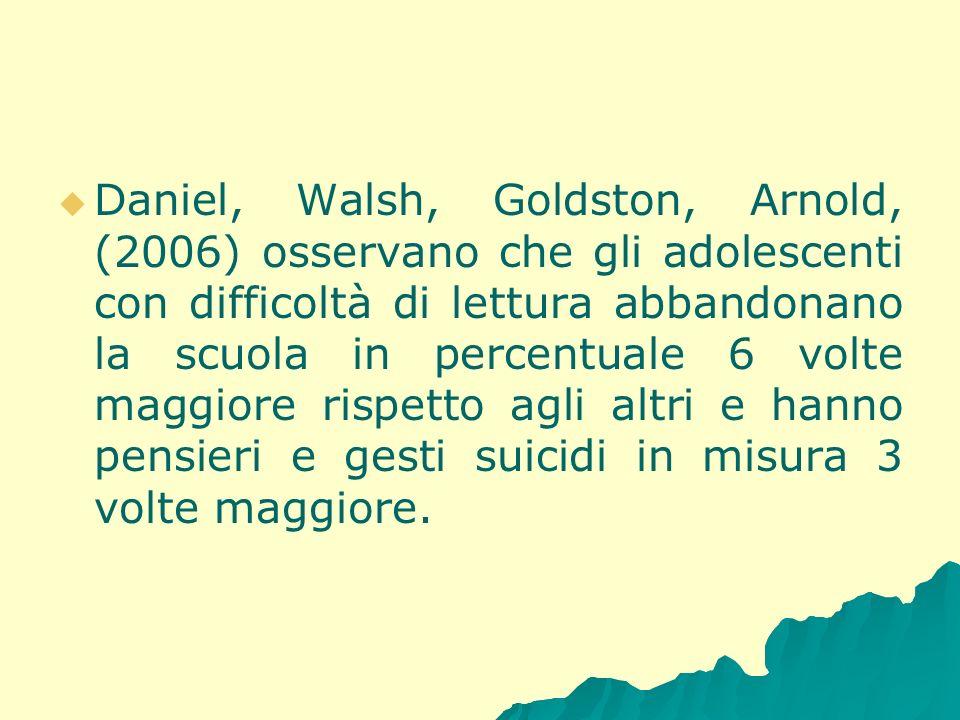 Daniel, Walsh, Goldston, Arnold, (2006) osservano che gli adolescenti con difficoltà di lettura abbandonano la scuola in percentuale 6 volte maggiore