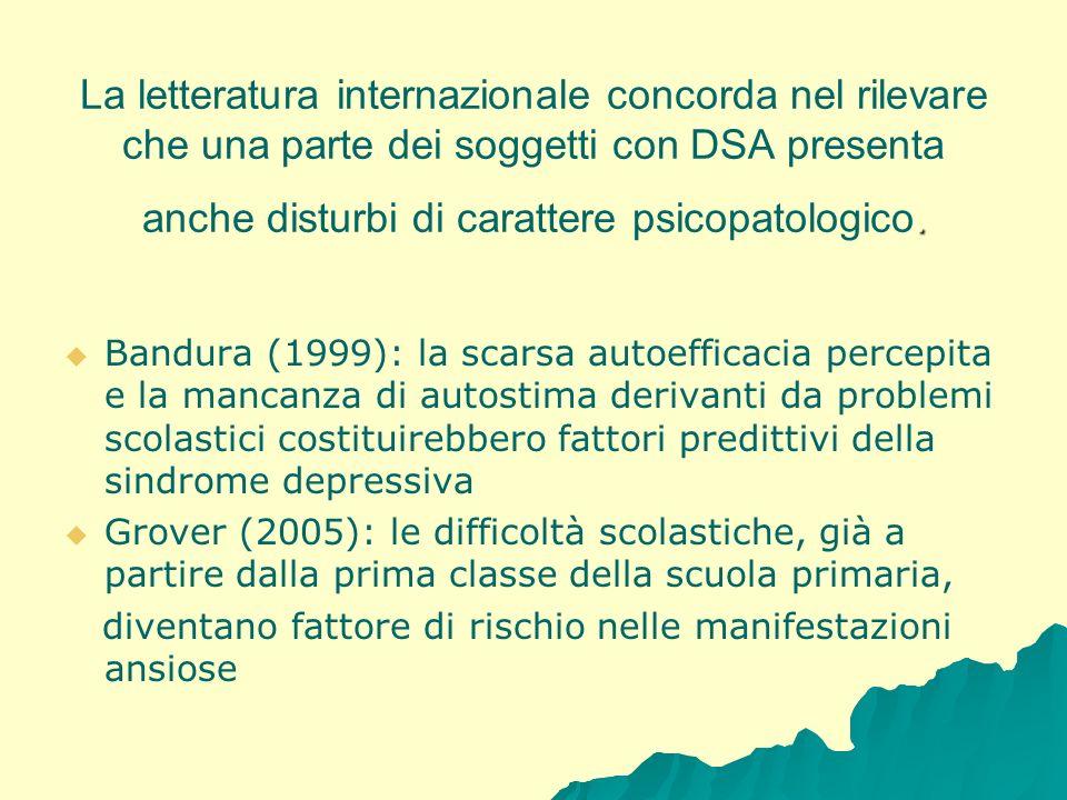 . La letteratura internazionale concorda nel rilevare che una parte dei soggetti con DSA presenta anche disturbi di carattere psicopatologico. Bandura
