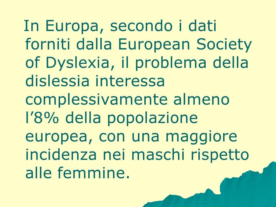 In Europa, secondo i dati forniti dalla European Society of Dyslexia, il problema della dislessia interessa complessivamente almeno l8% della popolazi