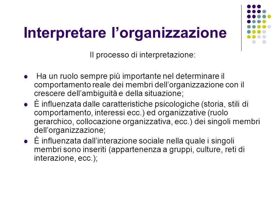 Interpretare lorganizzazione Il processo di interpretazione: Ha un ruolo sempre più importante nel determinare il comportamento reale dei membri dello