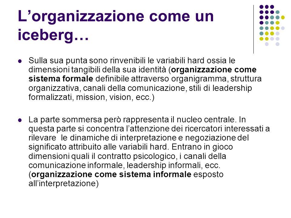 Lorganizzazione come un iceberg… Sulla sua punta sono rinvenibili le variabili hard ossia le dimensioni tangibili della sua identità (organizzazione c