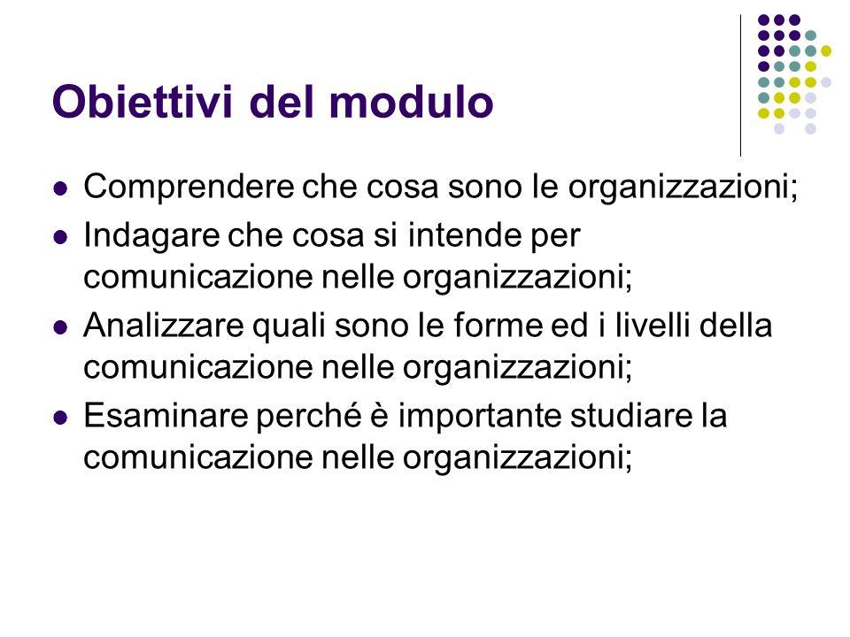 Obiettivi del modulo Comprendere che cosa sono le organizzazioni; Indagare che cosa si intende per comunicazione nelle organizzazioni; Analizzare qual