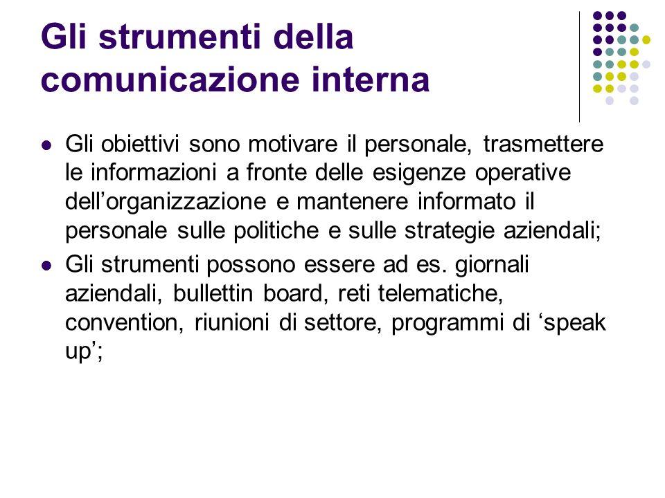 Gli strumenti della comunicazione interna Gli obiettivi sono motivare il personale, trasmettere le informazioni a fronte delle esigenze operative dell