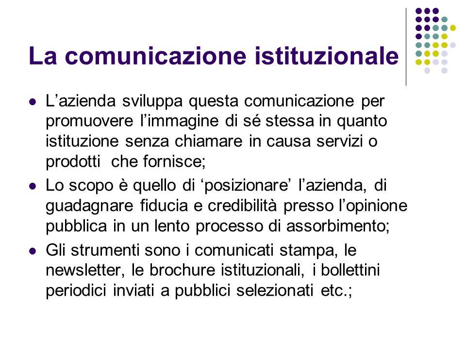 La comunicazione istituzionale Lazienda sviluppa questa comunicazione per promuovere limmagine di sé stessa in quanto istituzione senza chiamare in ca