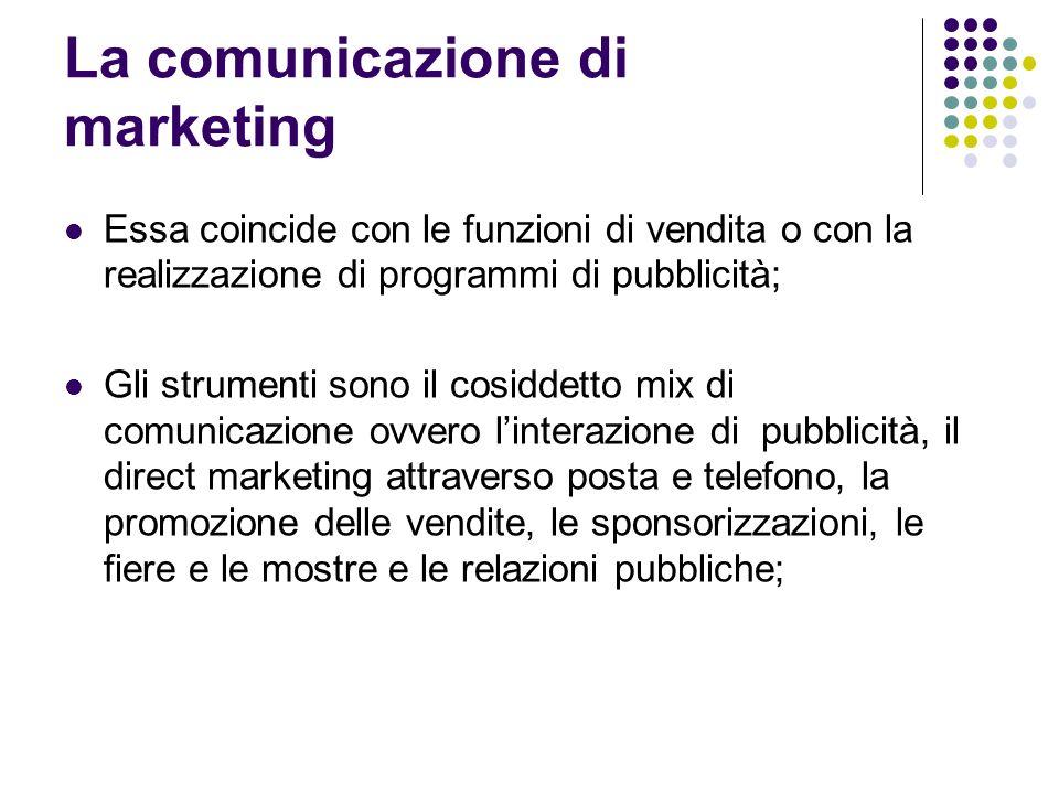 La comunicazione di marketing Essa coincide con le funzioni di vendita o con la realizzazione di programmi di pubblicità; Gli strumenti sono il cosidd