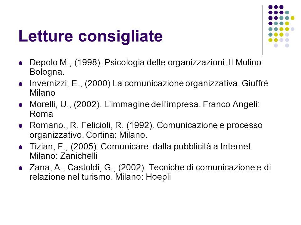 Letture consigliate Depolo M., (1998). Psicologia delle organizzazioni. Il Mulino: Bologna. Invernizzi, E., (2000) La comunicazione organizzativa. Giu