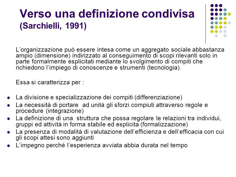 Verso una definizione condivisa (Sarchielli, 1991) Lorganizzazione può essere intesa come un aggregato sociale abbastanza ampio (dimensione) indirizza