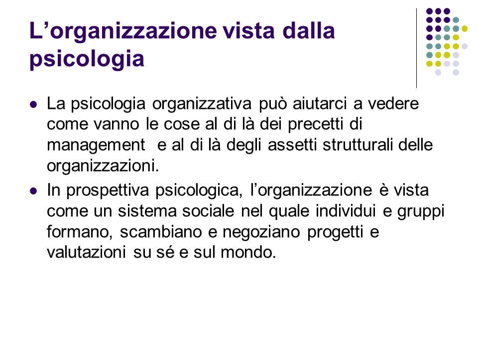 Lorganizzazione vista dalla psicologia La psicologia organizzativa può aiutarci a vedere come vanno le cose al di là dei precetti di management e al d