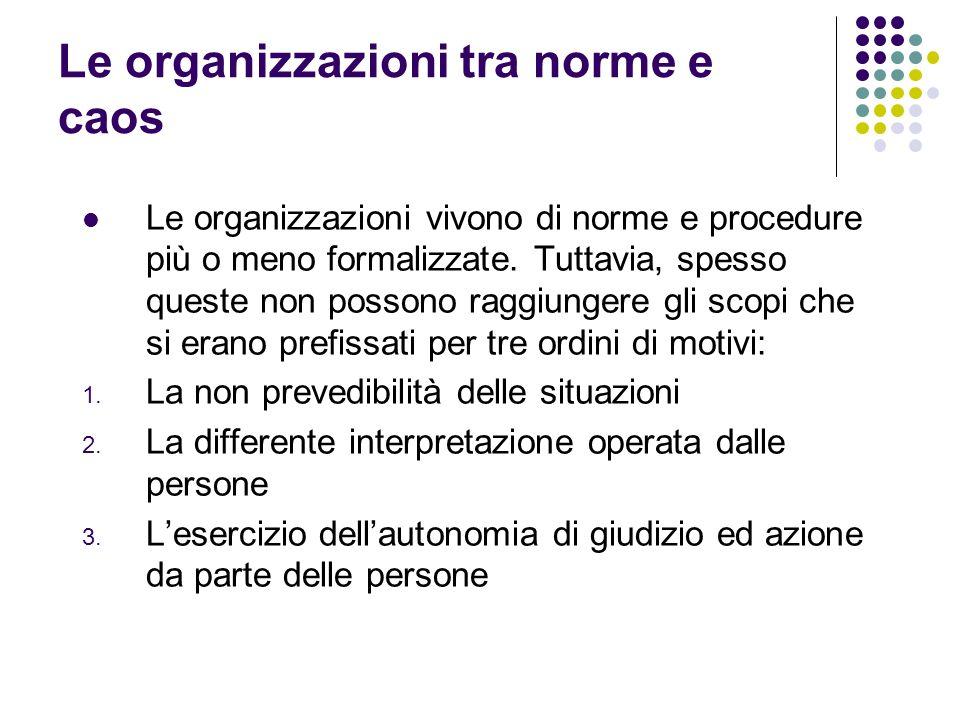 Le organizzazioni tra norme e caos Le organizzazioni vivono di norme e procedure più o meno formalizzate. Tuttavia, spesso queste non possono raggiung