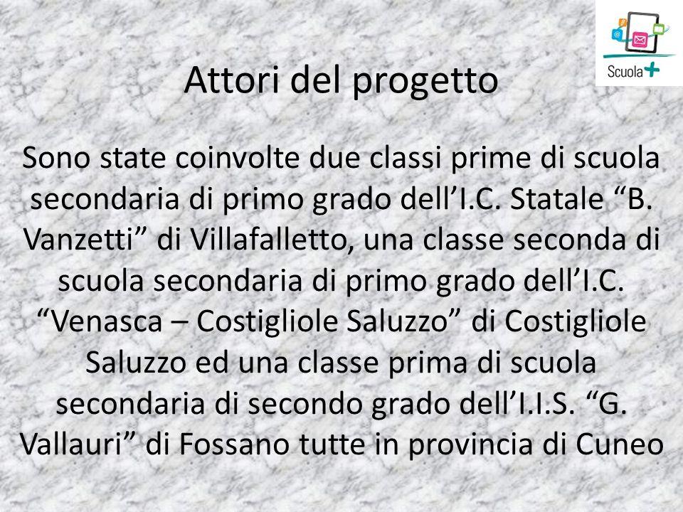 Attori del progetto Sono state coinvolte due classi prime di scuola secondaria di primo grado dellI.C. Statale B. Vanzetti di Villafalletto, una class
