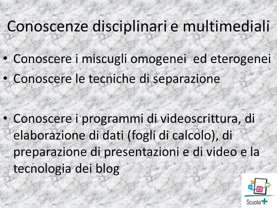 Conoscenze disciplinari e multimediali Conoscere i miscugli omogenei ed eterogenei Conoscere le tecniche di separazione Conoscere i programmi di video