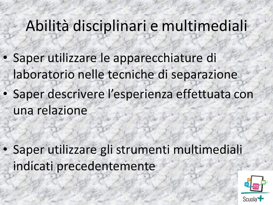 Abilità disciplinari e multimediali Saper utilizzare le apparecchiature di laboratorio nelle tecniche di separazione Saper descrivere lesperienza effe