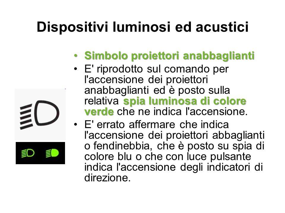 Dispositivi luminosi ed acustici Simbolo proiettori anabbagliantiSimbolo proiettori anabbaglianti spia luminosa di colore verdeE' riprodotto sul coman