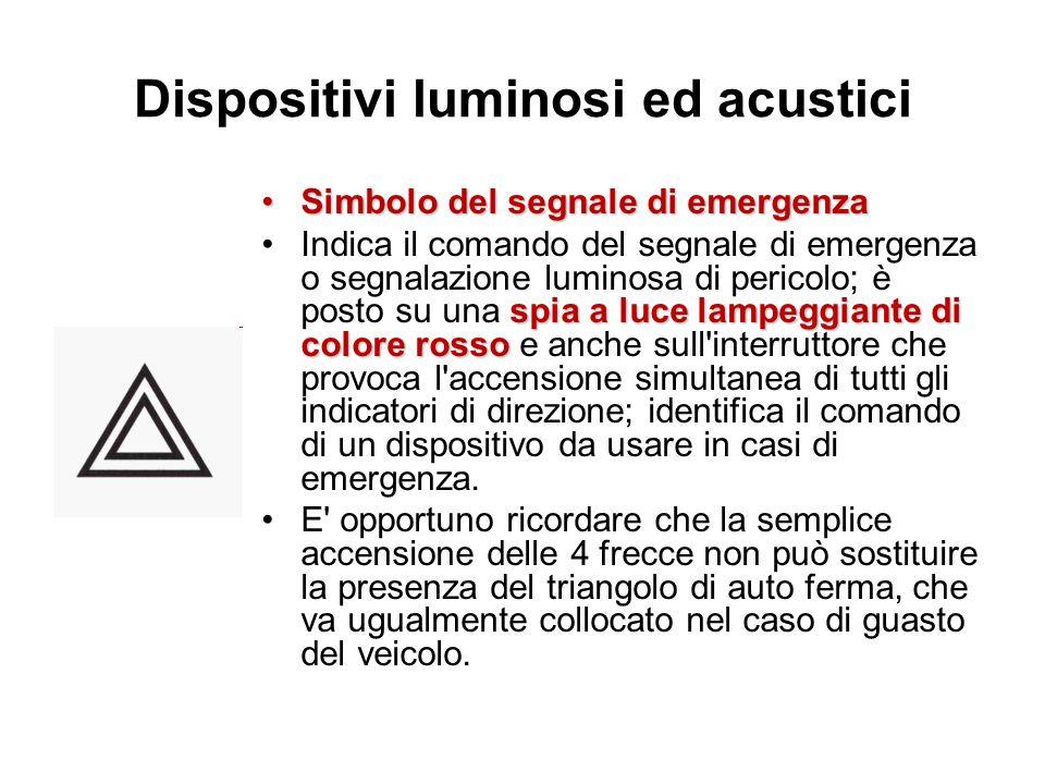 Dispositivi luminosi ed acustici Simbolo del segnale di emergenzaSimbolo del segnale di emergenza spia a luce lampeggiante di colore rossoIndica il co
