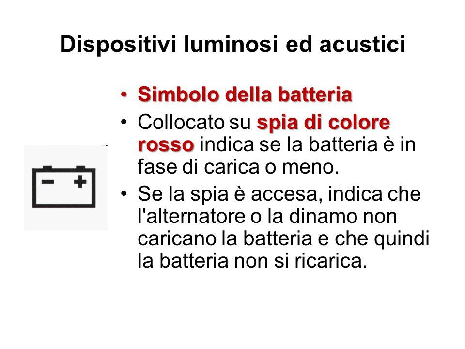 Dispositivi luminosi ed acustici Simbolo della batteriaSimbolo della batteria spia di colore rossoCollocato su spia di colore rosso indica se la batte