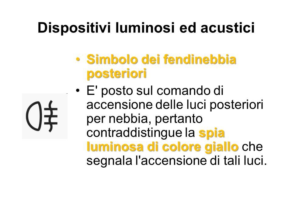 Dispositivi luminosi ed acustici Simbolo dei fendinebbia posterioriSimbolo dei fendinebbia posteriori spia luminosa di colore gialloE' posto sul coman